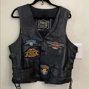First leather Vest adorned with Harley patches